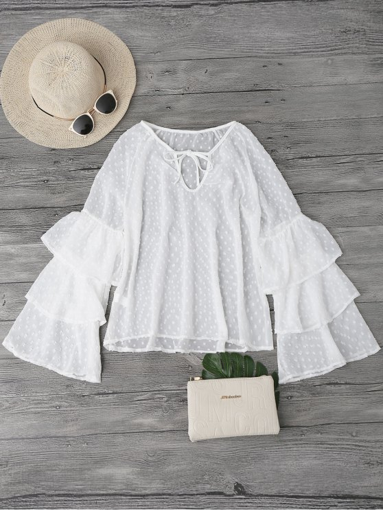 outfit Semi Sheer Plumetis Bell Sleeve Beach Top - WHITE L