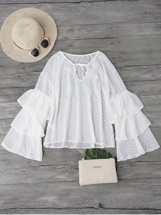 outfits Semi Sheer Plumetis Bell Sleeve Beach Top - WHITE M
