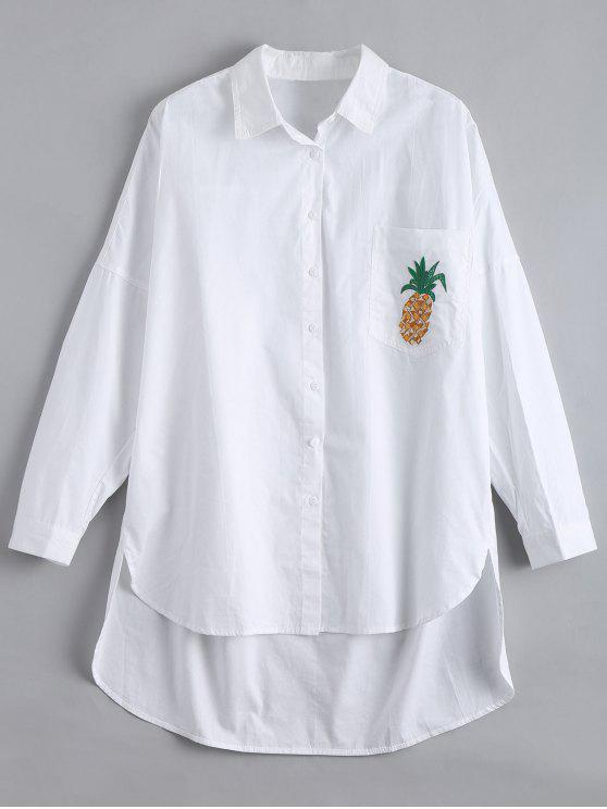 ladies High Low Pineapple Embroidered Boyfriend Shirt - WHITE L