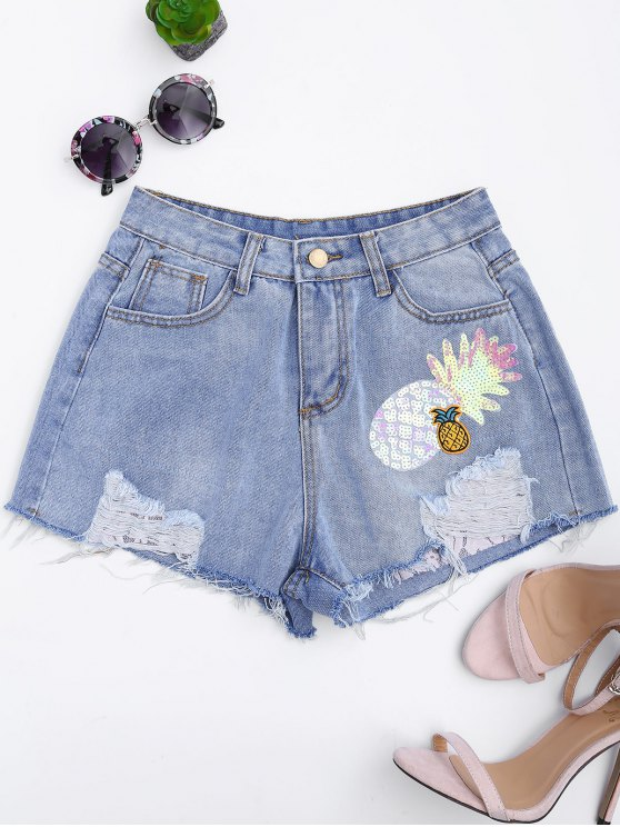 online Patched Pineapple Sequined Ripped Denim Shorts - DENIM BLUE ONE SIZE