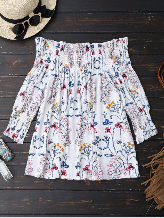 shops Floral Print Ruffle Hem Blouse - WHITE M