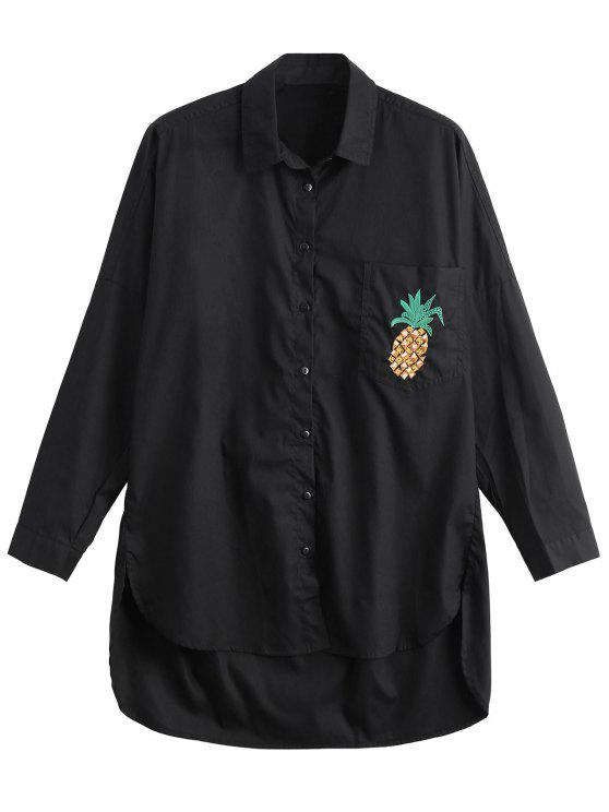 latest High Low Pineapple Embroidered Boyfriend Shirt - BLACK L