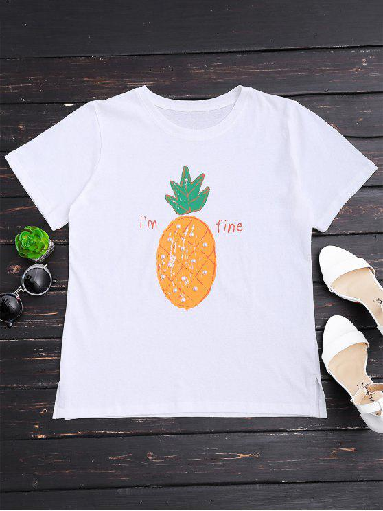 Piña Print Rhinestone T-shirt - Blanco Única Talla