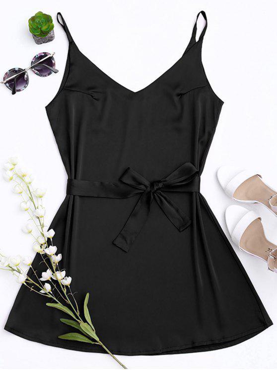 Vestido con Tirante Fino de Satén con Cinturón - Negro L