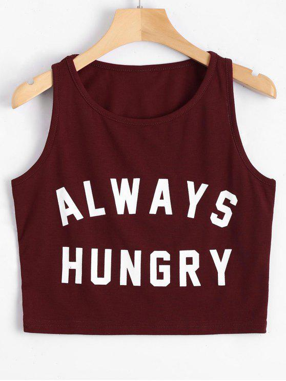 womens Graphic Always Hungry Cropped Tank Top - WINE RED S