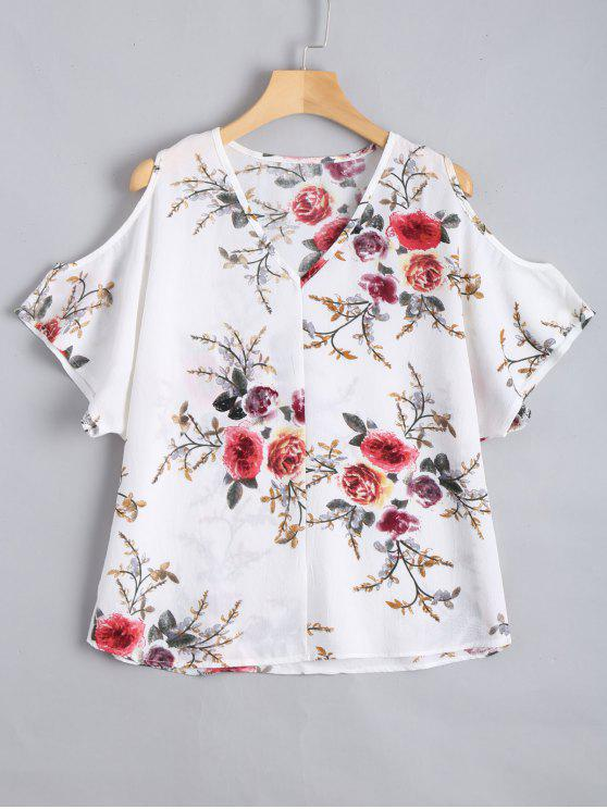 fashion Cold Shoulder Floral Print Blouse - WHITE XL