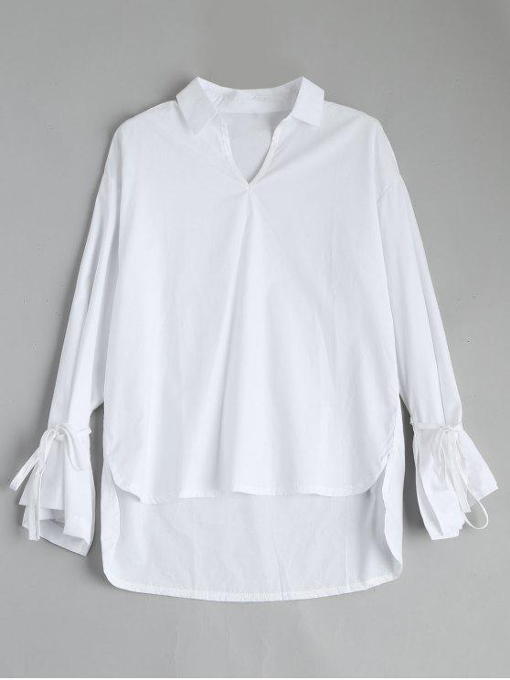 sale Self Tie Flare Sleeve High Low Blouse - WHITE XL