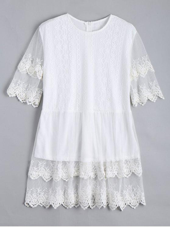 women Lace Panel Longline Blouse - WHITE XL