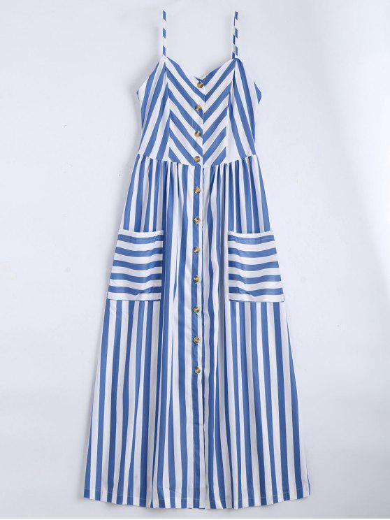 shop Button Up Striped Cami Dress - VIOLET BLUE L