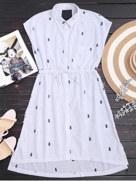 sale Drawstring Pineapple Embroidered Cutout Shirt Dress - WHITE M