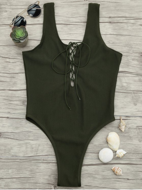 women Textured Lacing High Cut One Piece Swimsuit - ARMY GREEN S