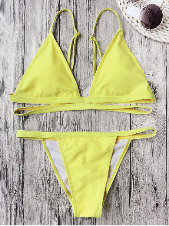 ladies Banded Padded V String Bikini Set - FLUORESCENT YELLOW L
