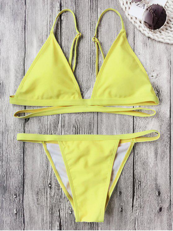 lady Banded Padded V String Bikini Set - FLUORESCENT YELLOW M