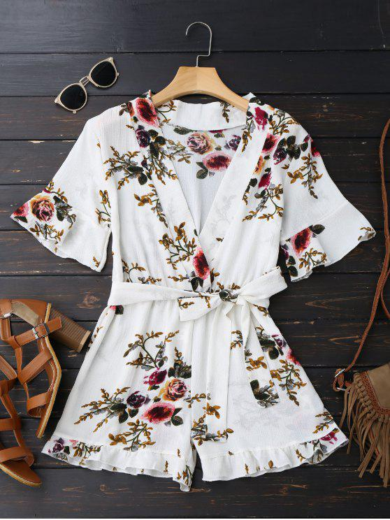 hot Bell Sleeve Floral Plunging Neck Romper - WHITE L