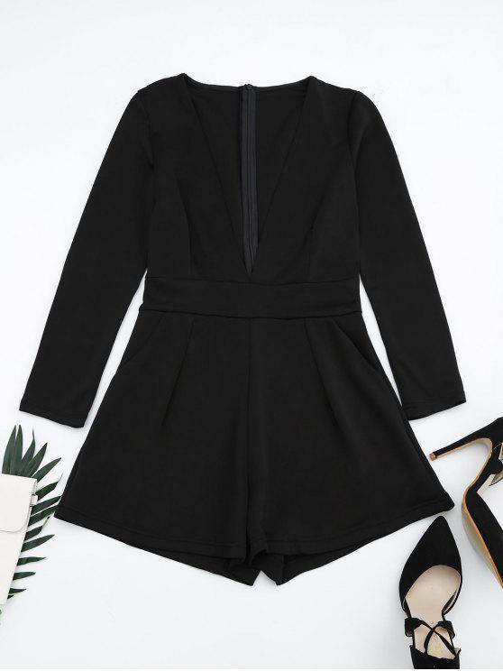 shop Plunging Neck Long Sleeves Pocket Romper - BLACK M