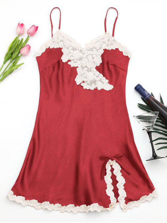 Brilhante vestido de cetim de cetim - Vermelho M