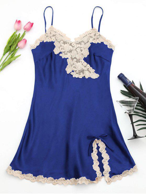 Glänzendes Cami Kleid aus Satin - Saphir Blau L