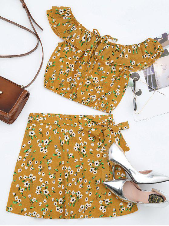 shop Floral Off Shoulder Top and Wrap Mini Skirt - ORANGE YELLOW S