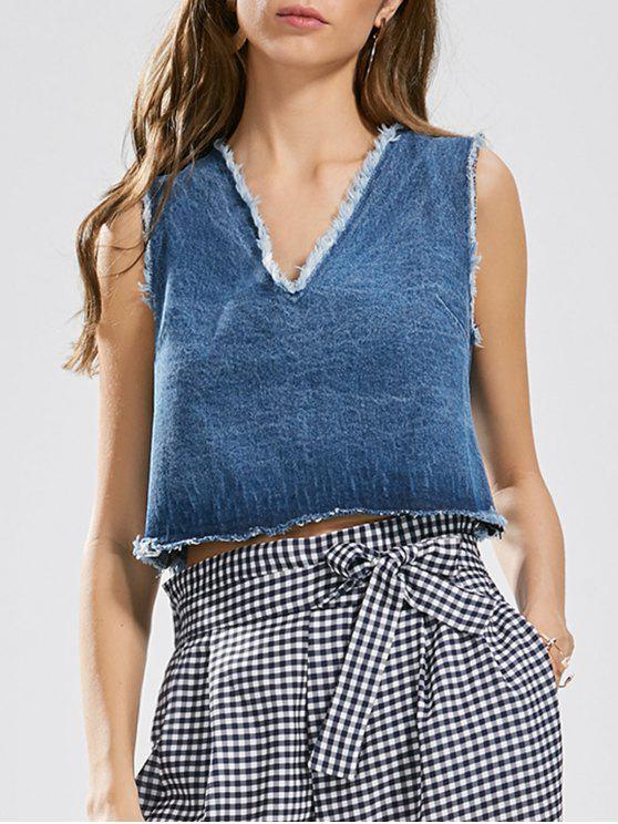 Cutoffs ata la camiseta sin mangas del dril de algodón - Denim Blue M
