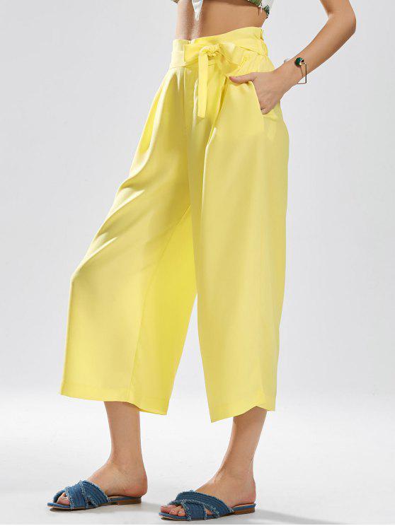 Noveno Pantalones de Pierna Amplia Bowknot - Amarillo M
