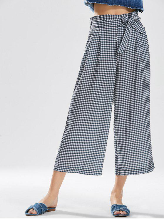 best Checked Bowknot Wide Leg Pants - CHECKED L