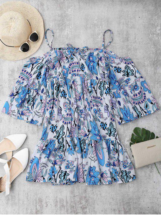 Off The Shoulder Cover Up Trapeze Dress - Multicouleur L