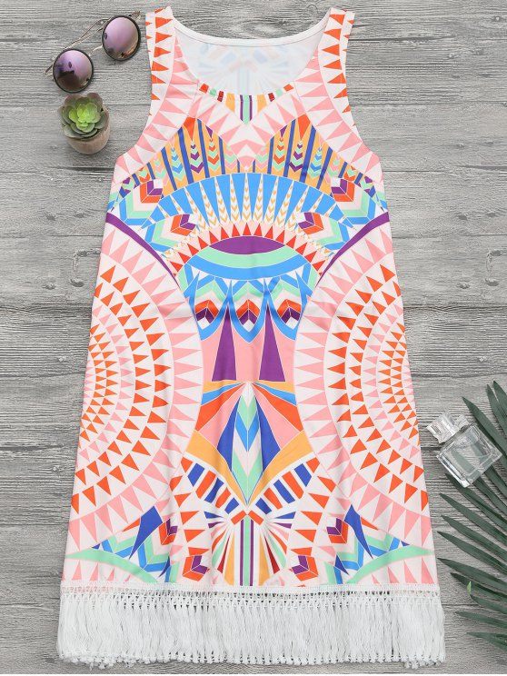 African Print Beach Cover Up Tank Dress - Multicouleur L