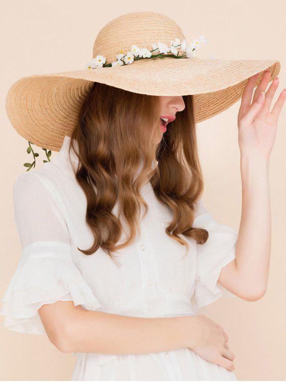 f9d19d12 43% OFF] 2019 Faux Flowers Embellished Wide Brim Straw Hat In YELLOW ...