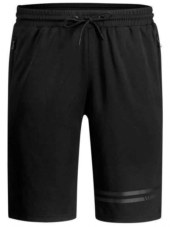 Shorts de cordón de bolsillo con cremallera sin costuras - Negro L