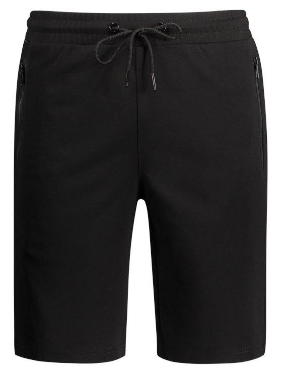 Shorts Deportivos De Cuello De Bolsillo Zip - Negro 2XL