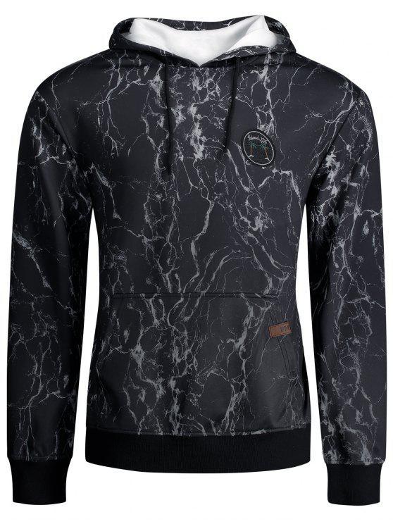 shop Lightning Print Kangaroo Pocket Hoodie - BLACK XL