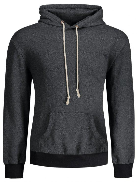affordable Kangaroo Pocket Patch Pullover Hoodie - DEEP GRAY XL