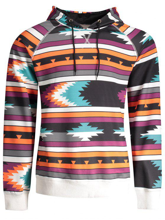 Sweat à Capuche Imprimé Tribal à Manches Raglan - Multicolore L
