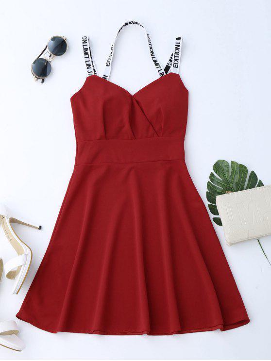 V cuello alto cintura Flare Dress - Rojo Única Talla