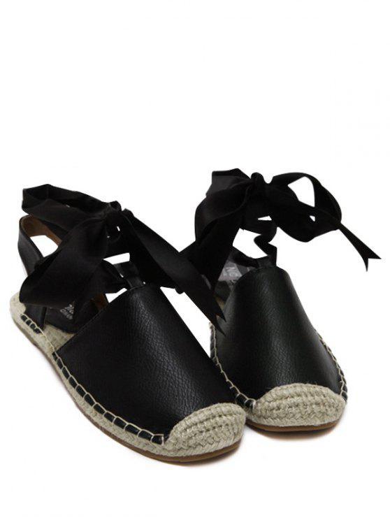 Espadrilles Sandalen mit Flachem Absatz und Schnürsenkel - Schwarz 39