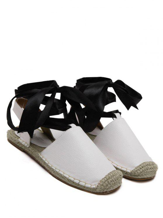 Espadrilles Sandalen mit Flachem Absatz und Schnürsenkel - Weiß 38