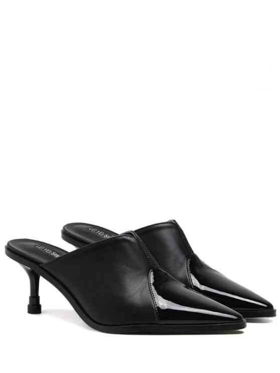 hot Faux Leather Pointed Toe Slippers - BLACK 37
