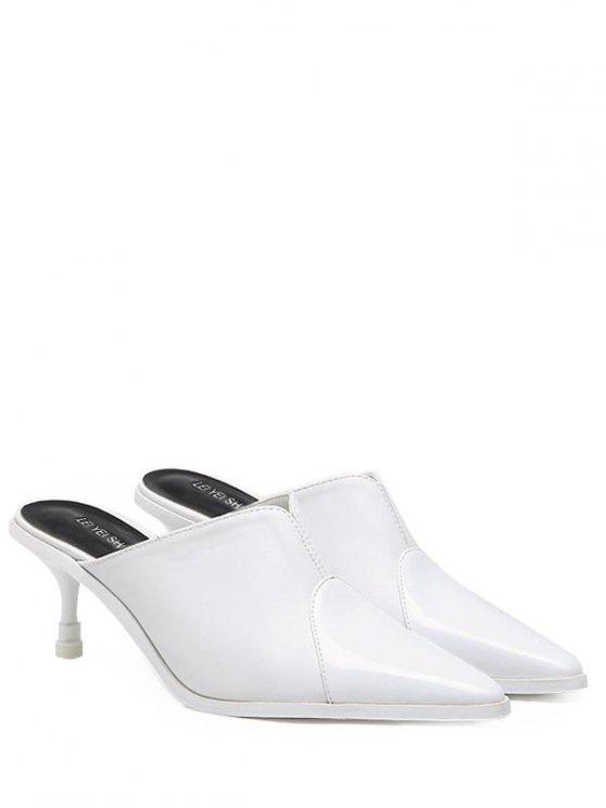 latest Faux Leather Pointed Toe Slippers - WHITE 38