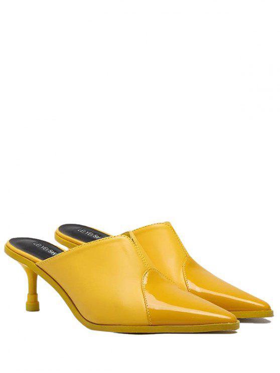 Zapatillas de dedo del pie con punta de cuero de imitación - Amarillo 37