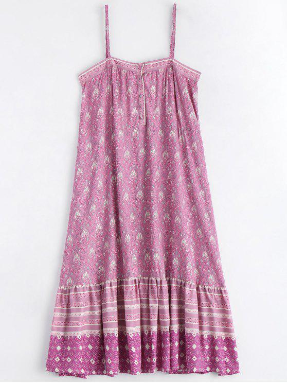 sale Printed Half Buttoned Ruffles Slip Dress - MULTICOLOR L