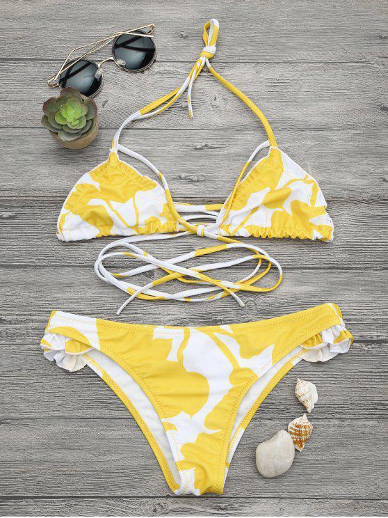 womens Two Tone Frilled Printed Bikini Set - WHITE AND YELLOW S
