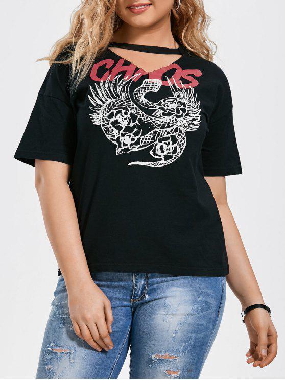 best Plus Size Graphic Choker T-Shirt - BLACK XL