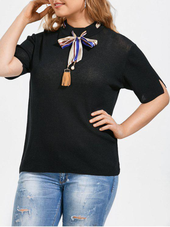 shop Bowknot Knitted Plus Size Top with Silk Scarf - BLACK 2XL