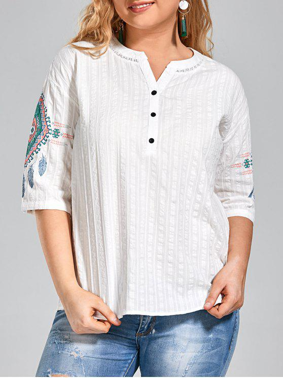 Tela Gráfica Plus Size Buttoned Top - Blanco 2XL