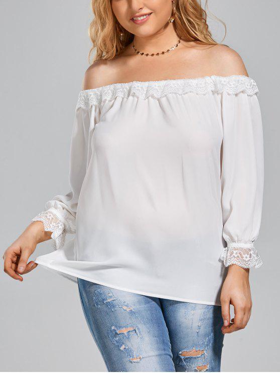 Lace Panel Plus Size Off Shoulder Top - Branco 2XL