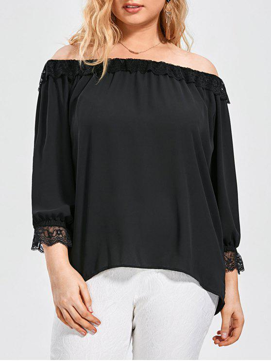 Lace Panel Plus Size Off Top de hombro - Negro 3XL