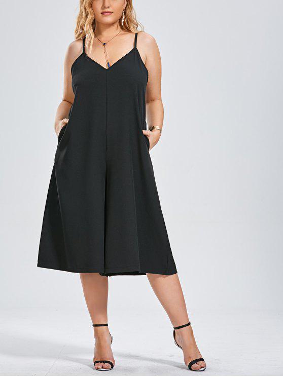 affordable Capri Wide Leg Plus Size Jumpsuit - BLACK XL