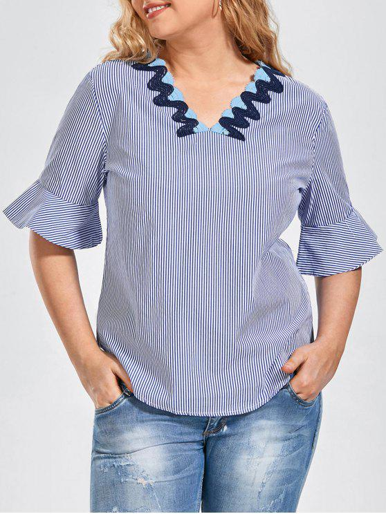 Bordures Patted Brodées Plus Size Top - Rayure 2XL