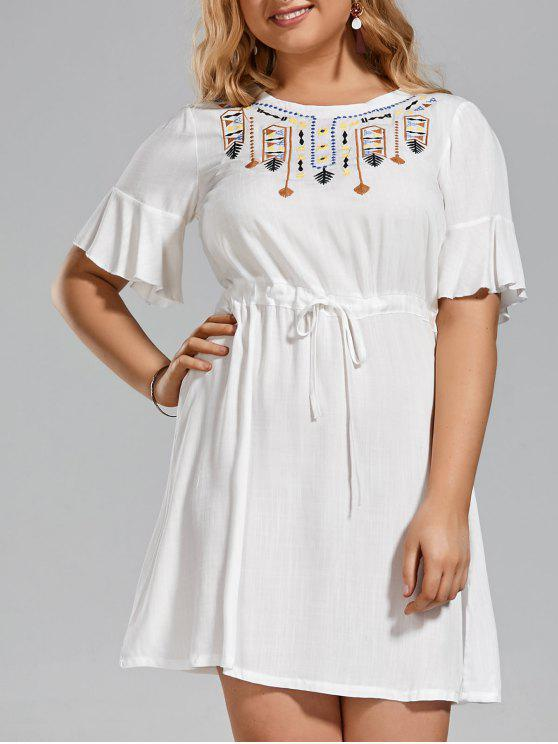 best Plus Size Embroidered Belted Ruffles Dress - WHITE 2XL