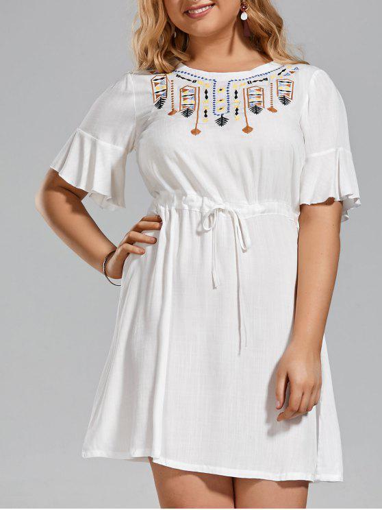 زائد حجم مطرز مربوط الكشكشة اللباس - أبيض 4XL